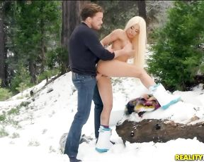 This blonde is the snowboard queen and she loves to go out while completely naked