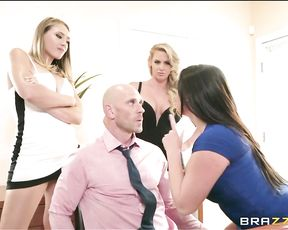 Wife invites her husband's mistresses over for dinner and some dessert, hardcore foursome gangbang