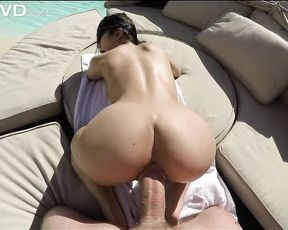 I got to fuck a sexy oiled up Asian babe with big tits while at the pool side