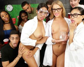 Three nerds girls from the chemistry club got naked and showed everyone how to suck and ride my dick