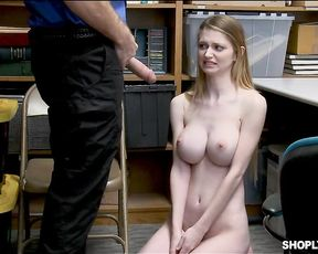 Young busty naked girl gets her pussy stuffed after full body cavity search whether she likes it or not