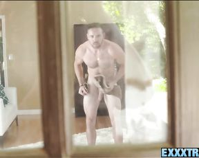 Teens spying on their neighbor's big dick get to suck, stroke and fuck it!