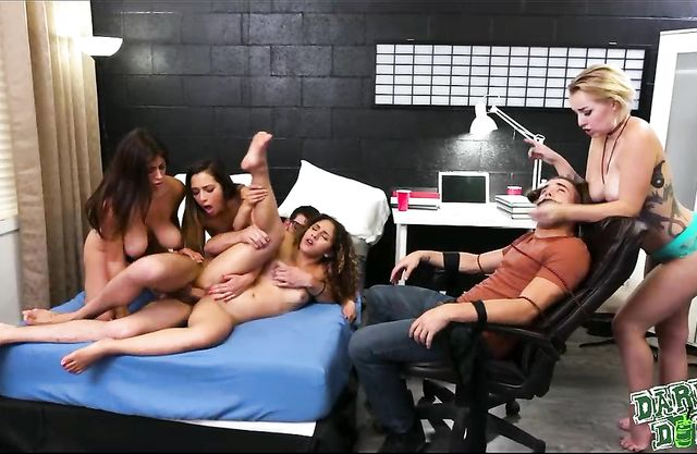 Tied up and forced to watch these sexy college co-eds banging this lucky guy!