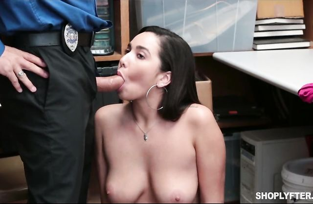 Sexy brunette babe gets caught shop lifting and fucked by the security guard!