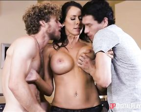 Hot cougar mom teaches her sons in law how to use their big cocks on her!
