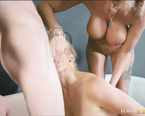 Two hot naked women with big tits enjoy this guy's 18 year old huge cock