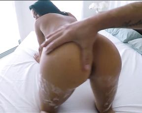 My sexy naked GF let me shove my dick in her mouth while taking a soapy bath!