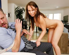 Naked girl ties her step daddy up and takes charge of his big hard cock!