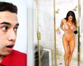 This boy gets caught sneaking around and spying on his naked mom in the shower