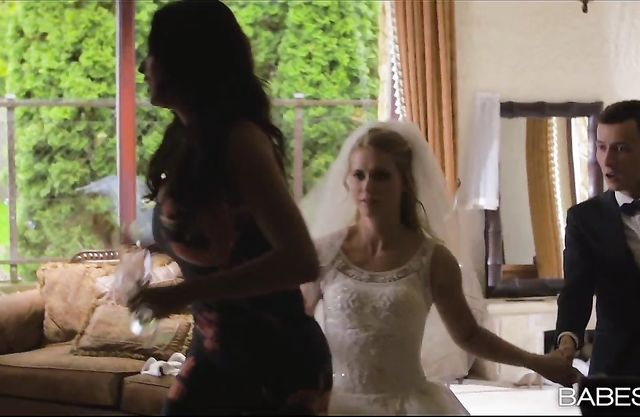 Sexy bride has a pre-wedding threesome with her groom and the bridesmaid