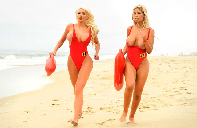 After almost drowning this lucky dude has a threesome with busty lifeguards!