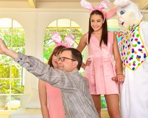 Sneaky sex with a sexy teen getting fucked by her uncle dressed up as an Easter bunny behind her parents' back