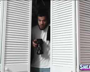 My stepsis and her friend catch me spying on them and we have a 3some!