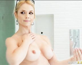 This babe just got her real estate license and she's ready to make her first big sale with two cocks in her cunt and ass