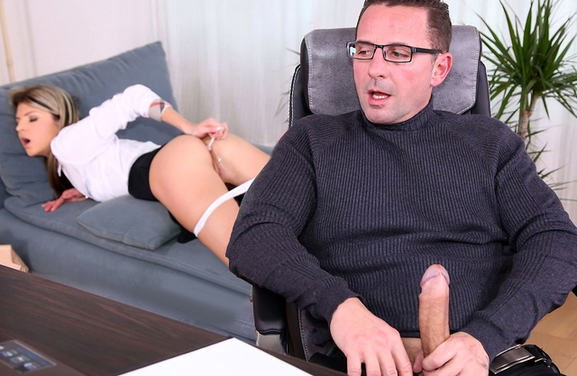 Teen nympho books a session with therapist and he psycho ANALizes her and cums in her ass