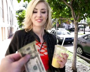 I offered this cute blonde cash for a flash and we ended up fucking in the alley
