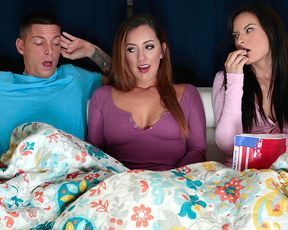 Boring movie night turns into a hot threesome with girlfriend and her MILF stepmom