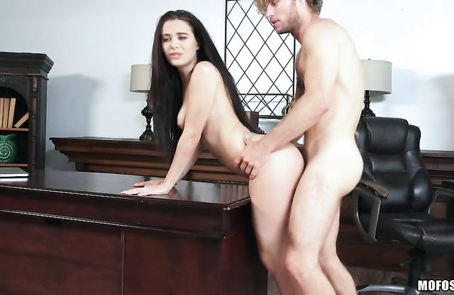 My girlfriend's boss almost catches me licking her pussy under the desk and then fucking her