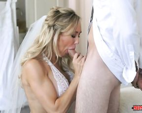 This hot MILF bride has a pre-wedding threesome with her soon to be stepdaughter and her boyfriend