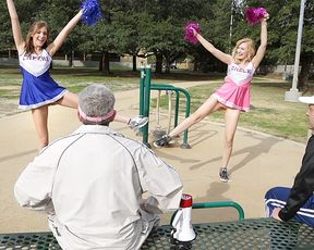 Daddy's little cheerleaders get fucked together