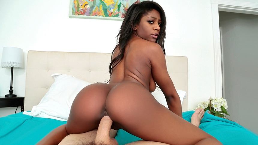 Ebony Riding Dick Backwards