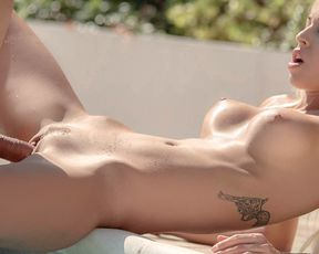 Hot naked blonde rides her neighbor's hard cock in the pool