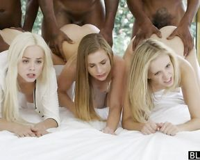 Three young naked girls + three huge black cocks = three amazing creampies
