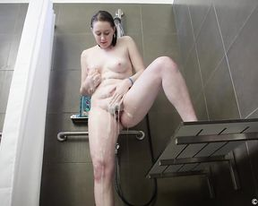 Chubby slut touches herself in the shower until she cums hardcore
