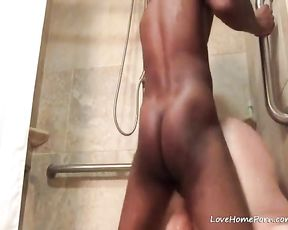 Black dude fucks a fat slut in the shower until she screasm with pleasure