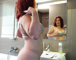 Busty nude slut feels like playing with her fat pussy in a solo home play