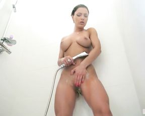 Teen with big tits enjoys a warm shower with a big dick included