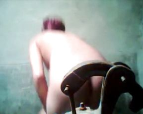 Naked girl taped in secret when having a shower and acting kinky