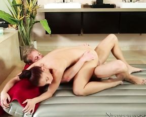Slut fuck with her hot young boss after taking a morning shower