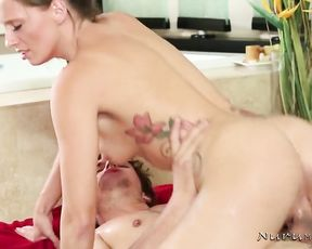 Dick sucking turns in aggressive hardcore sex for this naked slut