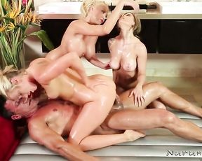 Three girls gets nailed under shower and having fun with one alpha-man