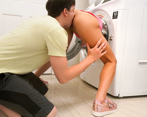 He fucked his little stepsister while she was doing the laundry