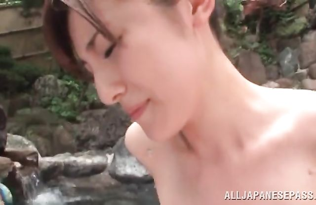Japanese beauty moans of lust with a big one suiting her hairy cunt