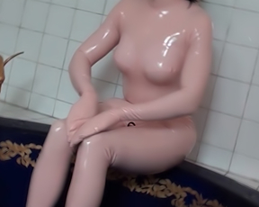 Kinky home fetish with the sex doll during solo shower XXX