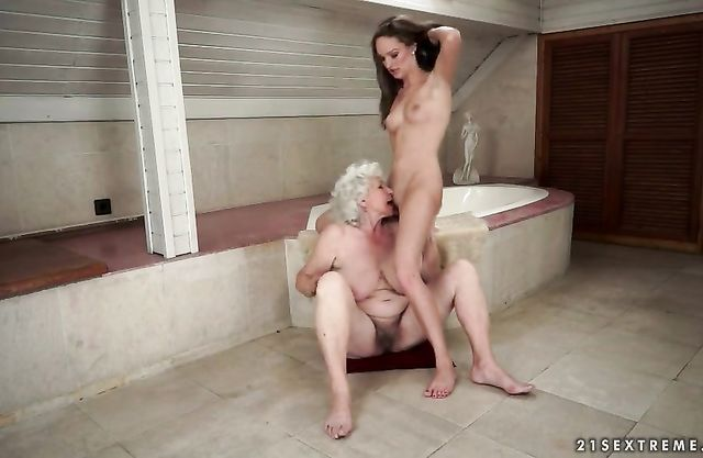 Granny loves having her niece licking her mature pussy in such scenes