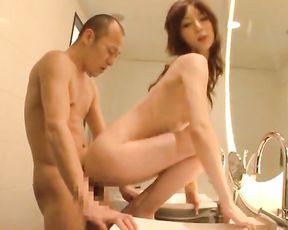 Japanese with small tits, deep fuck session in the shower with her dad