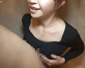 Busty Japanese provides hot blowjob in the shower while being filmed