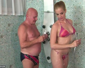 Old guy fucks his niece while in the shower then cums on her face