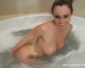 Blonde with big tits, bubble bath in the shower during sensual solo