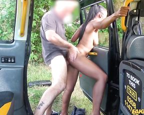 Ebony passenger lets taxi driver fuck naked pussy for free ride