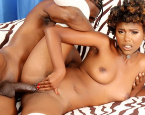 Naked pussy of lovely Ebony chick stretched by boyfriend's manhood
