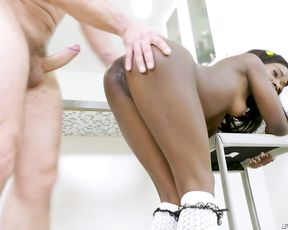 Young black slut touches naked tits and has good interracial sex