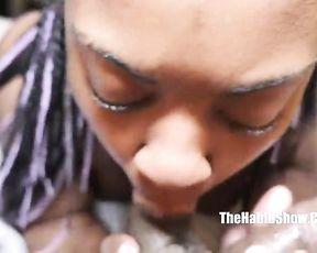 Good-looking Ebony girl with pierced naked nipples sucks cock on camera