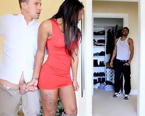 Boyfriend is home still it doesn't prevent black slut from enjoying naked sex