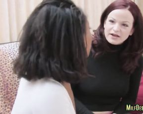 Black lezzy puts on strapon and drills pussy of naked girl with pale skin