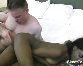 Lascivious boy turns black chick with taut booty on to drill her naked pussy